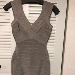 Herve Leger Bandage Short Dress Gray